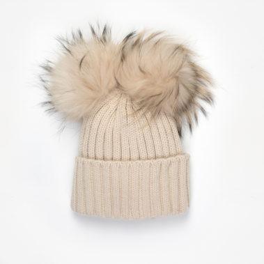 bonnet double pompon fourrure