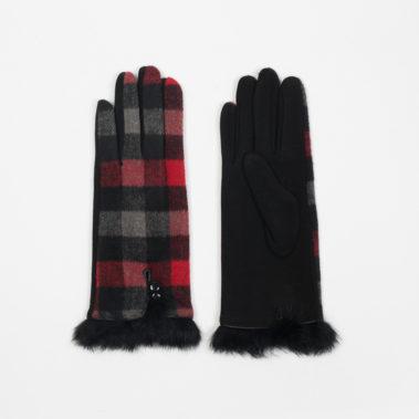 gants à carreaux fourrés