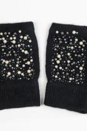 Mitaine noire strass et perles