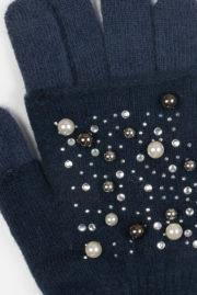 Gants mitaines strass et perles