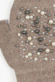 Mitaine taupe strass et perles