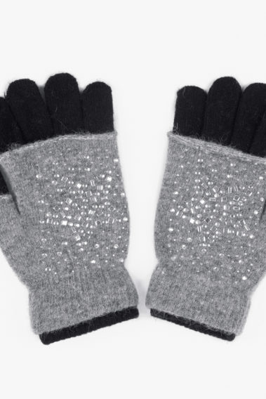 Gants mitaines strass