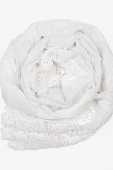 Foulard dentelle blanc