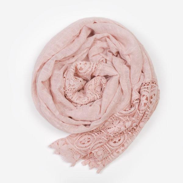 Foulard dentelle rose