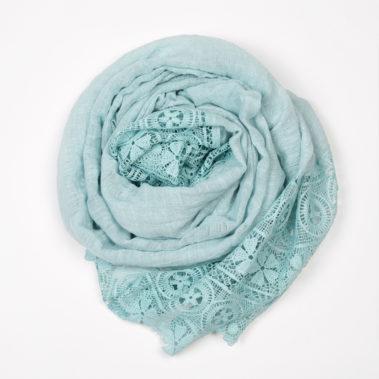 Foulard dentelle bleu