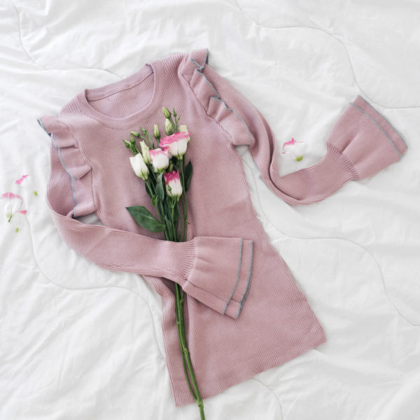 Pull à manches flare rose