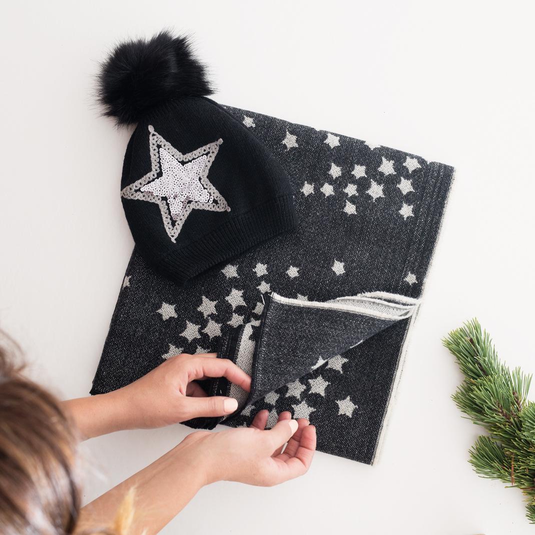 Bonnet et écharpe assorti noir - Les trésors de Dalia 9f99fe84240