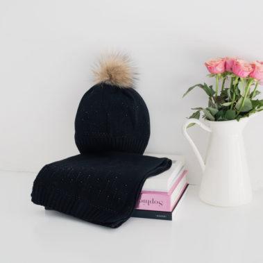 Ensemble écharpe bonnet strass