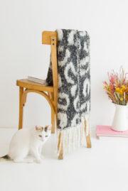 Écharpe imprimé léopard noir