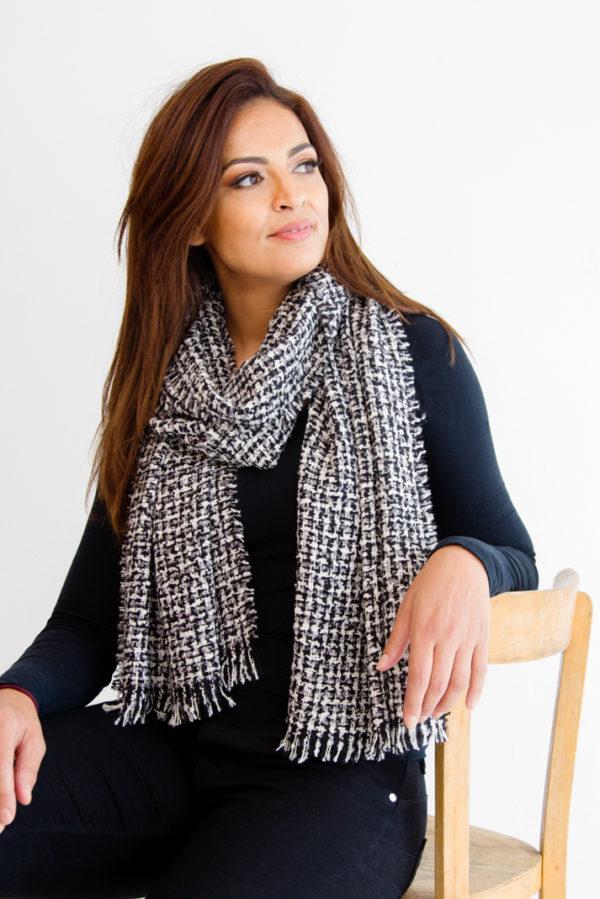 Écharpe tweed noir