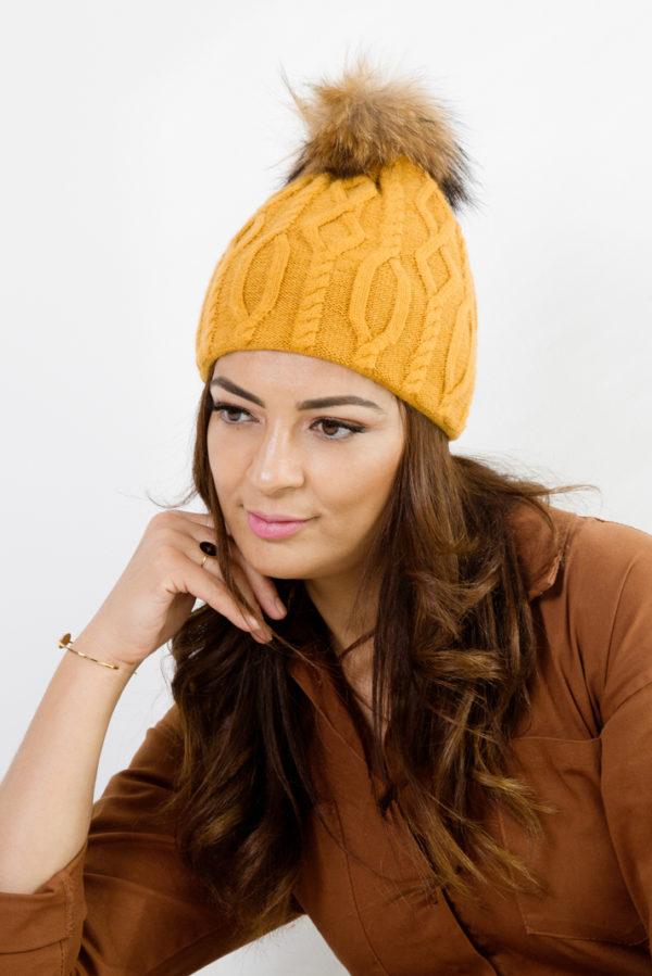 bonnet cachemire moutarde