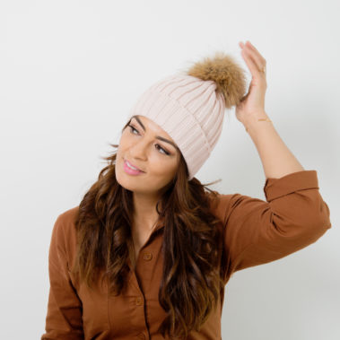 bonnet pompon rose