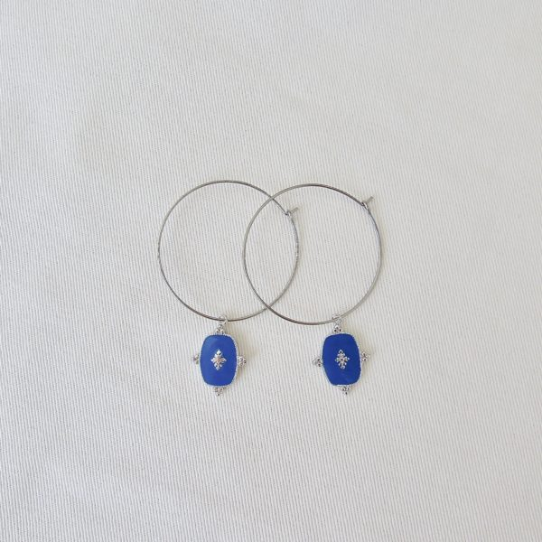 boucle d'oreille bleu