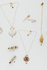 collier coquillage blanc doré