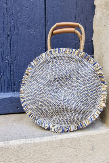 sac à main rond paille bleu