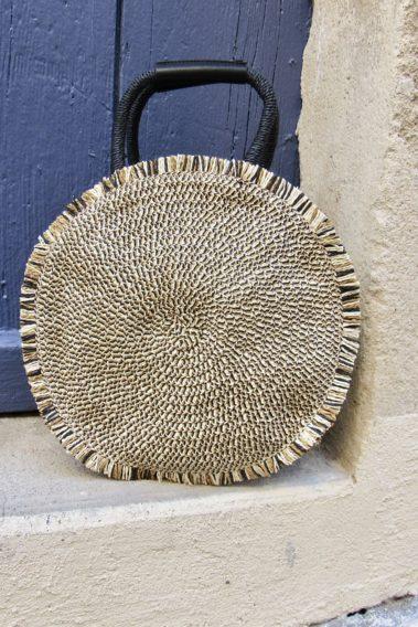 sac à amain rond paille noir