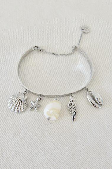 bracelet à breloques coquillages acier argenté