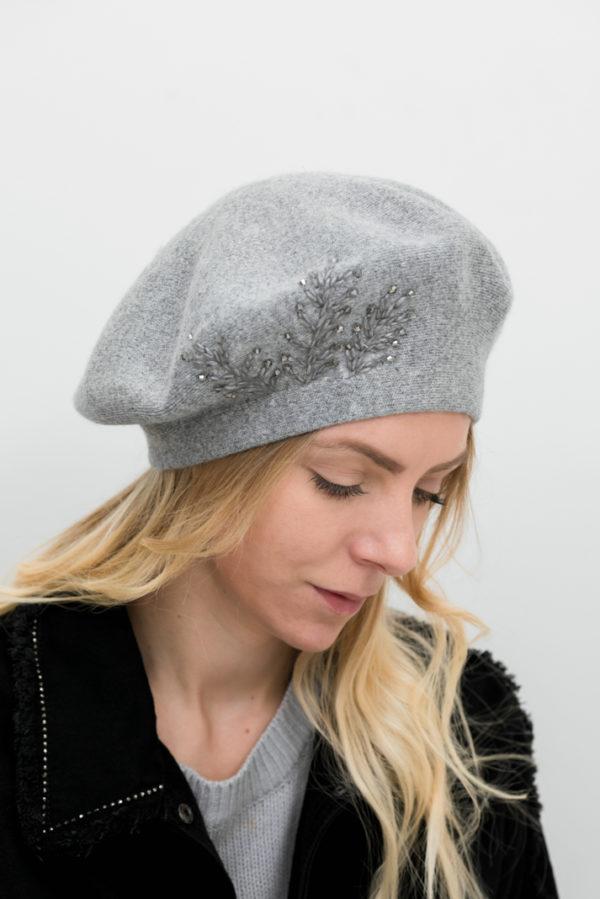 Béret gris femme
