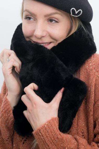 écharpe fausse fourrure noire