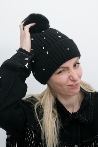 Bonnet strass noir